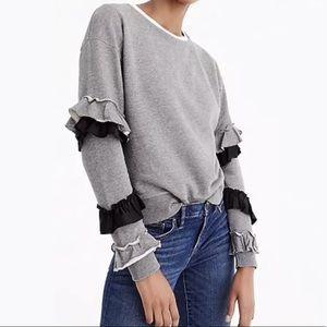 J.Crew Women's Sweatshirt Ruffle Long Sleeves M
